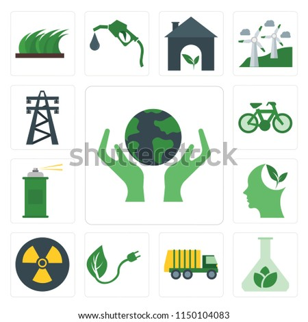 Set Of 13 simple editable icons such as Save, Biomass, Garbage truck, Renewable energy, Nuclear, Think, Spray, Bicycle, Electric tower, web ui icon pack #1150104083