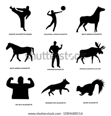 Shutterstock Set Of 9 simple editable icons such as skunk, running fox, fat guy, moose, matador, buck horse, volleyball spike, karate, can be used for mobile, web