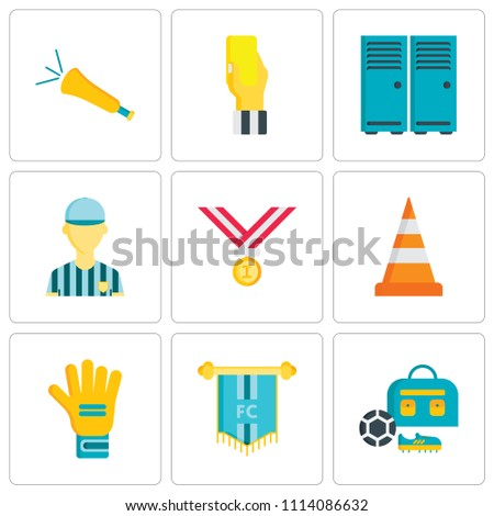 Set Of 9 simple editable icons such as Sport bag, Pennant, Gloves, Cone, Medals, Referee, Lockers, card, Vuvuzela, can be used for mobile, pixel perfect vector icon pack
