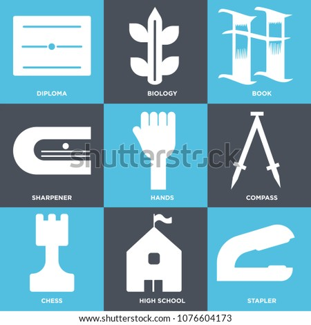 Set Of 9 simple editable icons such as Stapler, High school, Chess, Compass, Hands, Sharpener, Book, Biology, Diploma, can be used for mobile, web UI