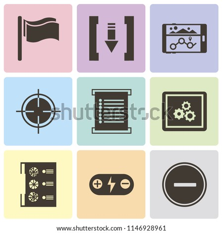 Set Of 9 simple editable icons such as Substract, Battery, Menu, App, Target, Navigation, Download, Flag, can be used for mobile, pixel perfect vector icon pack