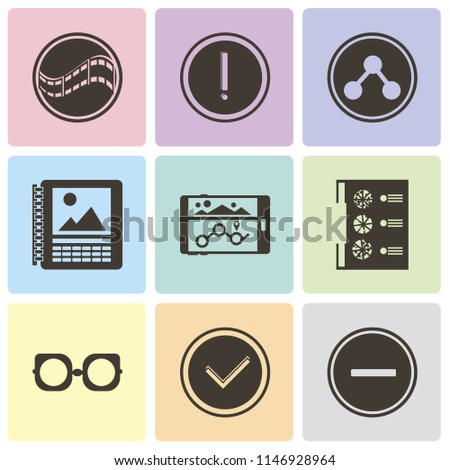 Set Of 9 simple editable icons such as Substract, Checked, Eyeglasses, Menu, Navigation, Calendar, Share, Warning, Film, can be used for mobile, pixel perfect vector icon pack