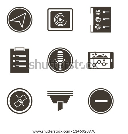 Set Of 9 simple editable icons such as Substract, Funnel, Unlink, Navigation, Microphone, List, Menu, Music player, Paper plane, can be used for mobile, pixel perfect vector icon pack