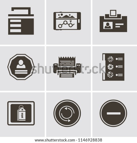 Set Of 9 simple editable icons such as Substract, Repeat, Price tag, Menu, Fax, Login, Id card, Navigation, Unlocked, can be used for mobile, pixel perfect vector icon pack