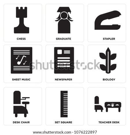 Set Of 9 simple editable icons such as Teacher desk, Set square, Desk chair, Biology, Newspaper, Sheet music, Stapler, Graduate, Chess, can be used for mobile, web UI