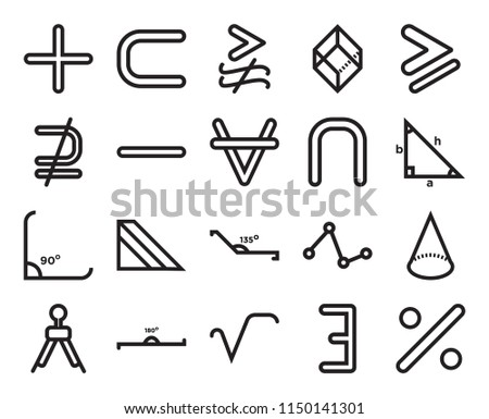 Set Of 20 simple editable icons such as Trigonometry, Square root, 180 degrees angle, Is not a subset, For all mathematics, web UI icon pack, pixel perfect