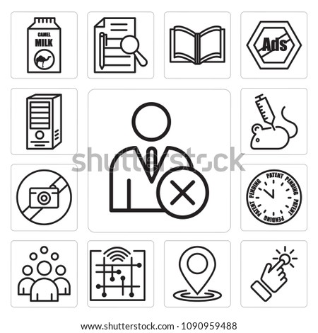 Set Of 13 simple editable icons such as unfollow, touchpoint, location, digitalisation, headcount, patent pending, picture not available, animal experimentation can be used for mobile, web UI, pixel perfect icons