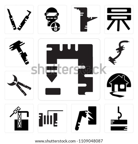 Set Of 13 simple editable icons such as Welder, Drill, Oil pump, Plier, Axe, Pliers, House, Paper cutter, web ui icon pack