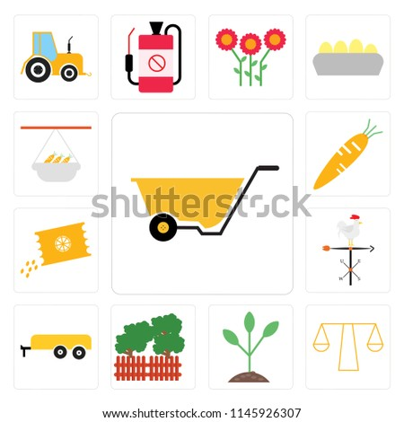 Set Of 13 simple editable icons such as Wheelbarrow, Stable, Seeding, Garden, Trailer, Weather vane, Seeds, Carrots, Hanging pot, web ui icon pack #1145926307