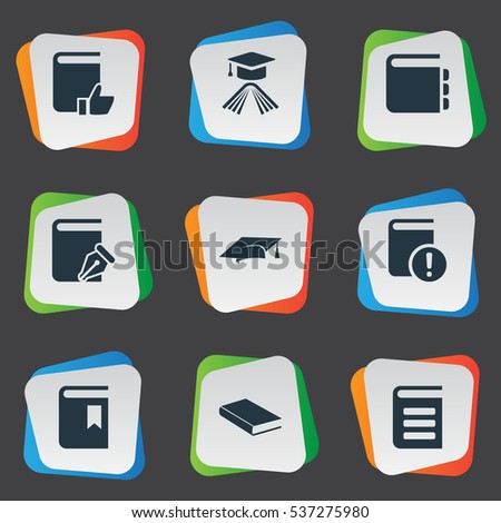 set of 9 simple education icons