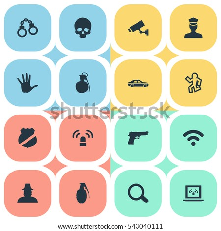 set of 16 simple fault icons