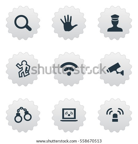 set of 9 simple fault icons