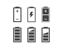 Set of simple flat battery icons. Vector symbols and design elements.