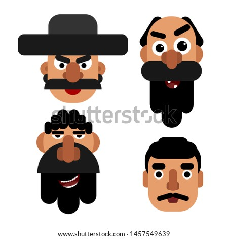 Set of simple flat images of men faces with beards and mustache. Avatars for websites and accounts. Icons barbershops and barbershop. Vector illustration