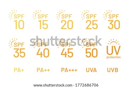 Set of simple flat SPF sun protection icons for sunscreen packaging. UV protection for skin. Icons for sunscreen products or other skin cosmetics. - Vector illustration Foto stock ©