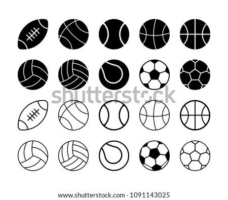set of simple flat sports balls