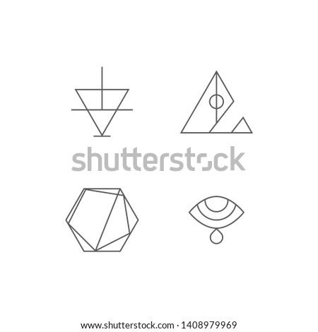 Set of simple geometric linear sacred alchemy, tarot, freemasonry style symbol icon template