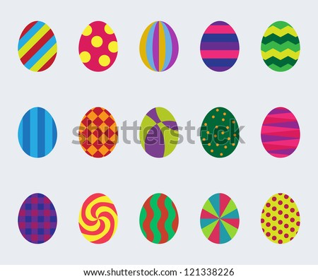 Set of simple graphic easter eggs. Vector image. - stock vector