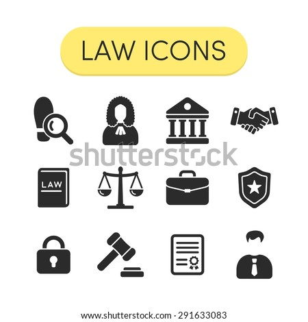 Set of simple grey vector justice, law and legal icons