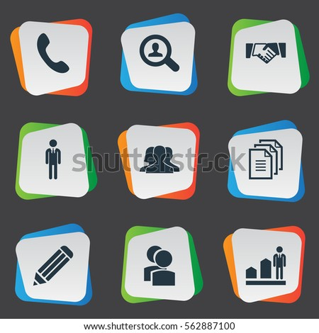 Set Of 9 Simple Hr Icons. Can Be Found Such Elements As Calling, Partnership, Eraser And Other.