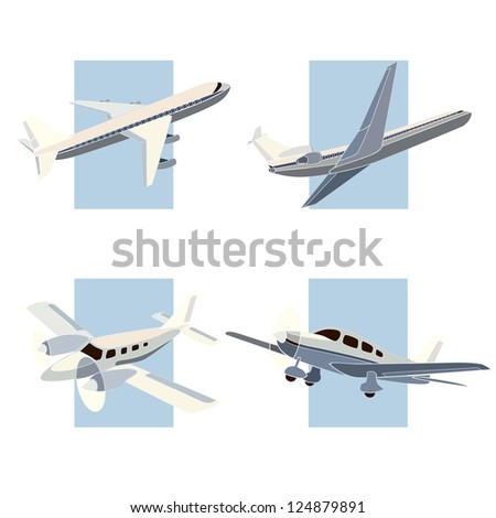 Set of simple icon of plane on background rectangle, pastel colors.