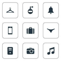 Set Of 9 Simple  Icons. Can Be Found Such Elements As Mobile Phone, Underwear, Hanger And Other.