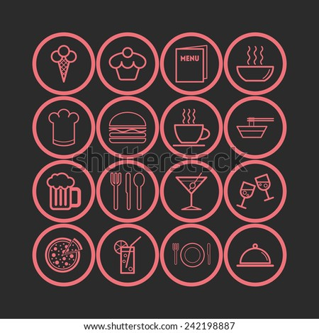 Set of simple icons for bar, cafe, restaurant