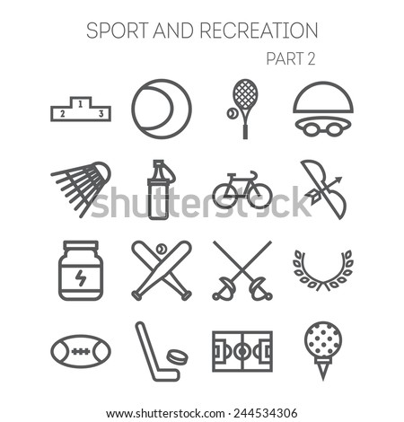 Set of simple icons for sport, recreation, web design and application