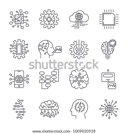 Set of simple icons on a theme Artificial intellect, mind, technology, vector, set. White background. Editable Stroke. EPS 10