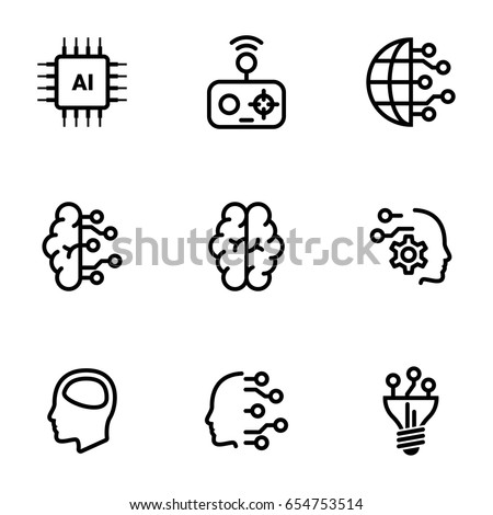 Set of simple icons on a theme Artificial intellect, mind, technology, vector, set. White background