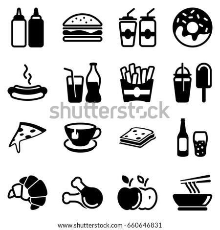 Set of simple icons on a theme Fast food, drinks, Cafe, alcohol, restaurant, sweets, harmful food, food court, vector, set. Black icons isolated against white background