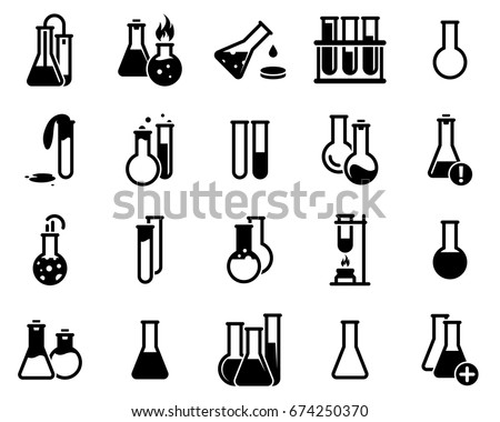 Set of simple icons on a theme Flask, laboratory, experiment, vector, design, collection, flat, sign, symbol,element, object, illustration. Black icons isolated against white background