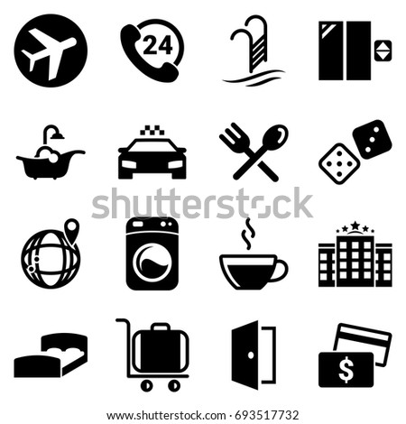 set of simple icons on a theme
