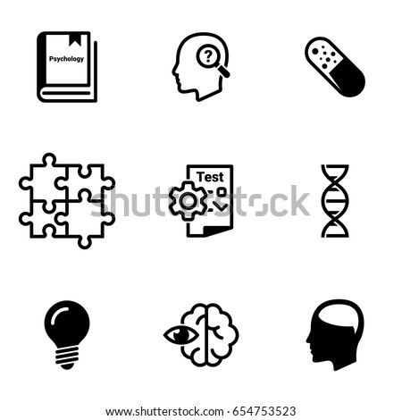 Set of simple icons on a theme Psychology, learning, and, learning, science, observation, vector, set. White background