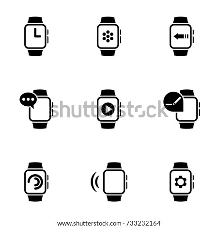 Set of simple icons on a theme smart watch, vector, design, collection, flat, sign, symbol,element, object, illustration, isolated. White background