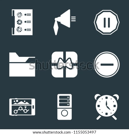 Set Of 9 simple icons such as Alarm, Server, Navigation, Substract, Gift, Folder, Pause, Speaker, Menu, can be used for mobile, pixel perfect vector icon pack on black background