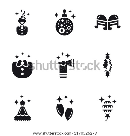 Set Of 9 simple icons such as Balloons, Snack, Hat, Sweet, Horn, Clothes, Quaver, Mirror ball, Birthday boy, can be used for mobile, pixel perfect vector icon pack on white background