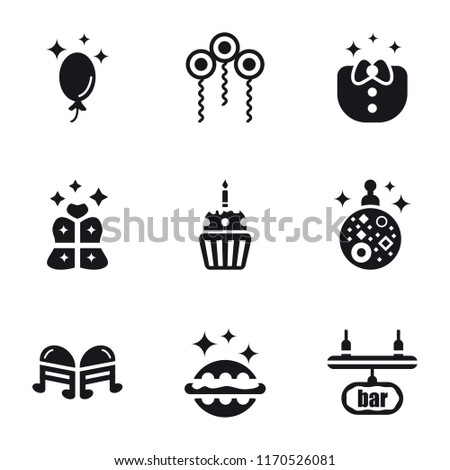 Set Of 9 simple icons such as Bar, Hamburger, Quaver, Mirror ball, Cupcake, Gift, Clothes, Confetti, Balloon, can be used for mobile, pixel perfect vector icon pack on white background