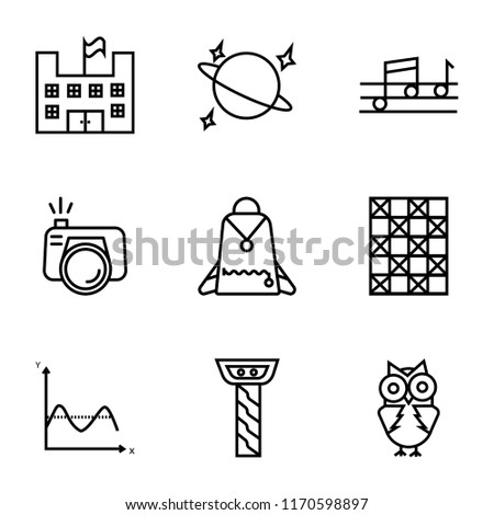 Set Of 9 simple icons such as Big Eyes Owl, Greek column, Sinusoid, Chess Board, Student Backpack, Camera with Flash, Quaver, Planet Satellite, School a flag, can be used for mobile, pixel