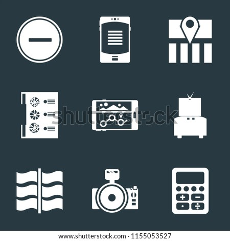 Set Of 9 simple icons such as Calculator, Photo camera, Flag, Television, Navigation, Menu, Map, Smartphone, Substract, can be used for mobile, pixel perfect vector icon pack on black background
