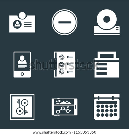 Set Of 9 simple icons such as Calendar, Navigation, Key, Lock, Menu, Smartphone, Compact disc, Substract, Id card, can be used for mobile, pixel perfect vector icon pack on black background