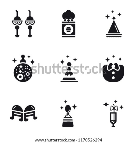 Set Of 9 simple icons such as Champagne, Shopping bag, Quaver, Clothes, Party hat, Mirror ball, Birthday card, Soda, can be used for mobile, pixel perfect vector icon pack on white