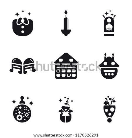 Set Of 9 simple icons such as Confetti, Birthday girl, Mirror ball, Calendar, Quaver, Tag, Candle, Clothes, can be used for mobile, pixel perfect vector icon pack on white background