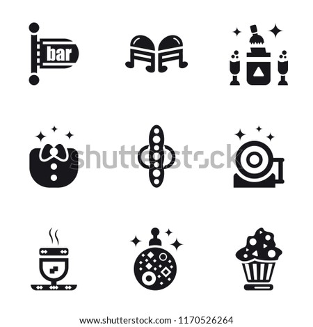 Set Of 9 simple icons such as Cupcake, Mirror ball, Hot drink, Vinyl, Speaker, Clothes, Champagne, Quaver, Bar, can be used for mobile, pixel perfect vector icon pack on white background