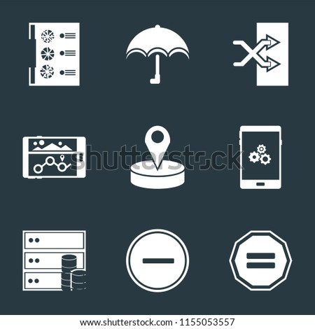 Set Of 9 simple icons such as Equal, Substract, Database, Smartphone, Placeholder, Navigation, Shuffle, Umbrella, Menu, can be used for mobile, pixel perfect vector icon pack on black background