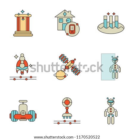 Set Of 9 simple icons such as Exoskeleton, Robot, Transparent, Satellite, Spaceship, Data analytics, Smart house, Teletransportation, can be used for mobile, pixel perfect vector icon pack on