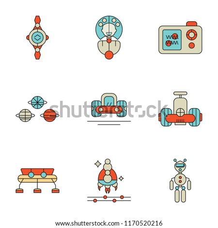 Set Of 9 simple icons such as Exoskeleton, Spaceship, Space station, Robot, Car, Material, Nanosensor, Artificial atmosphere, Smartwatch, can be used for mobile, pixel perfect vector icon pack on