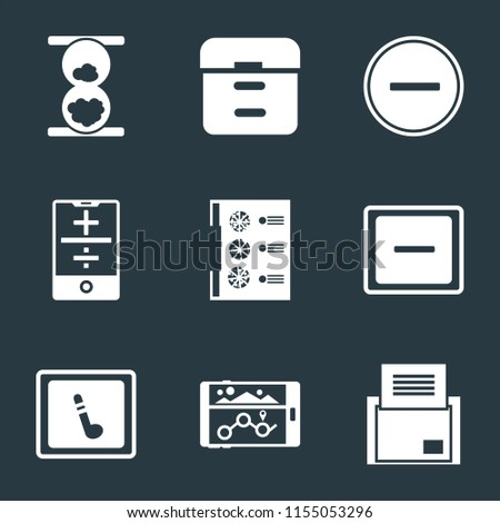 Set Of 9 simple icons such as Folder, Navigation, Music player, Minus, Menu, Smartphone, Substract, Archive, Hourglass, can be used for mobile, pixel perfect vector icon pack on black background