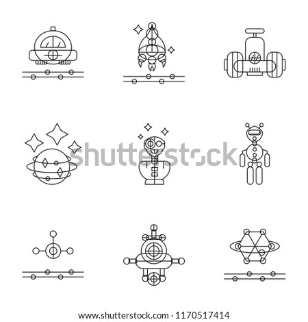 Set Of 9 simple icons such as Graphene, Drone, Ar glasses, Exoskeleton, Augmented reality, Space, Robot, Spaceship, Flying car, can be used for mobile, pixel perfect vector icon pack on white