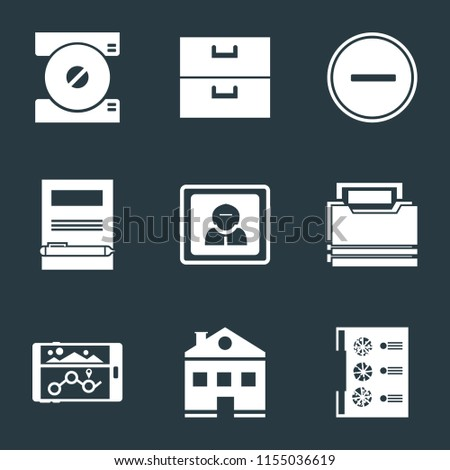 Set Of 9 simple icons such as Menu, Home, Navigation, Folder, User, Notebook, Substract, Archive, Compact disc, can be used for mobile, pixel perfect vector icon pack on black background